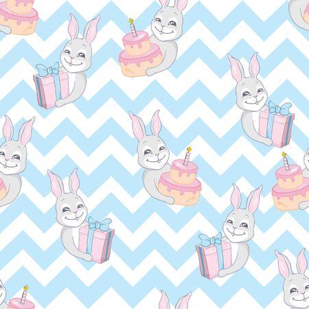 Cute rabbit face. Seamless pattern