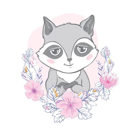 Vector illustration with cute raccoon.