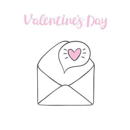 Valentines day clip art. Envelope with hearts, stamps and hearts, love postcard with letters. Flying heart with wings. Vector illustration 일러스트