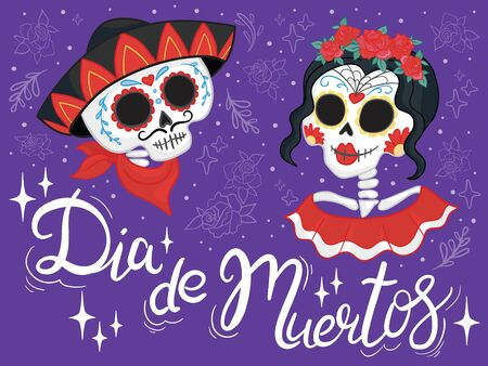 Vector hand drawn illustration of Mexican holiday Day of the Dead. The postcard with lettering Dia de Muertos
