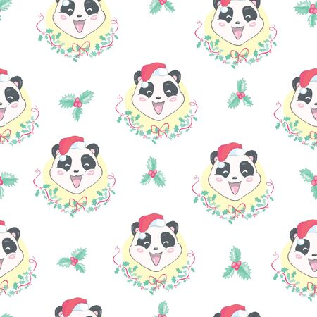 Seamless pattern with the illustration of a cute Panda in a cartoon style. Children vector background. 일러스트