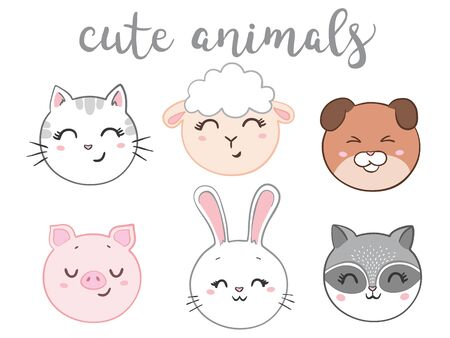 Vector illustration of animal faces.  イラスト・ベクター素材