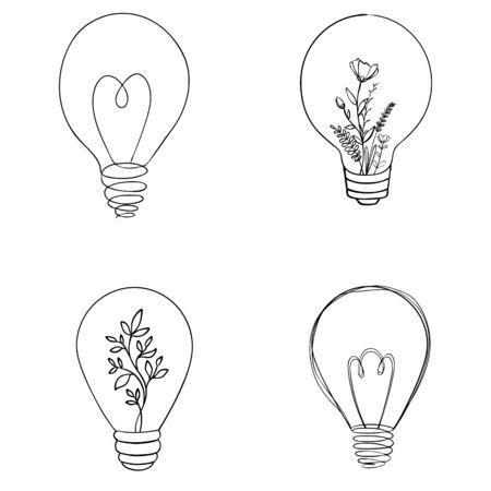 Set of vector light bulb icons. Illustration isolated on white background. 일러스트