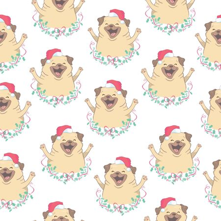 Christmas seamless pattern with the image of little cute puppies in the hat of Santa Claus.