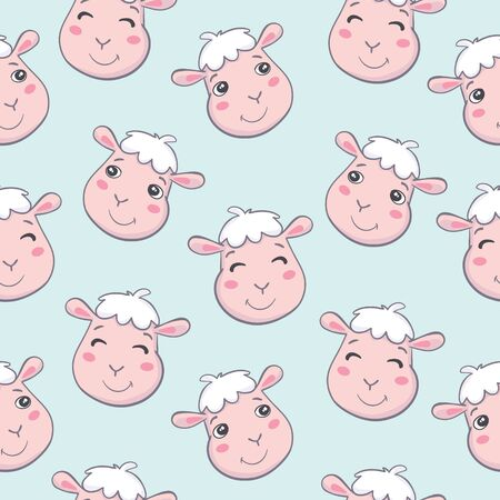 illustration of cute sheep seamless pattern on white background