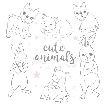 Postcard with happy dogs and happy cats and rabbits . Vector background