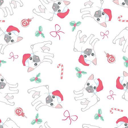 Seamless pattern French bulldogs with Santa hats 일러스트