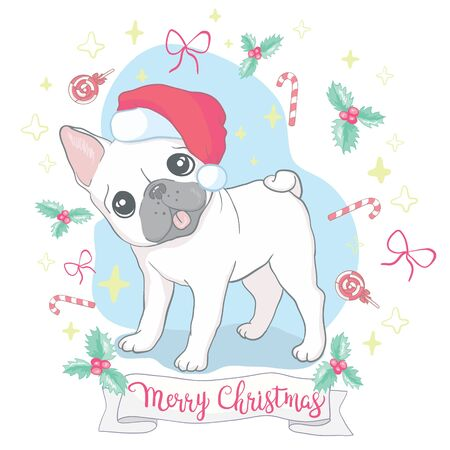 Christmas card. Image Portrait of French bulldog in Santa hats. Vector illustration.