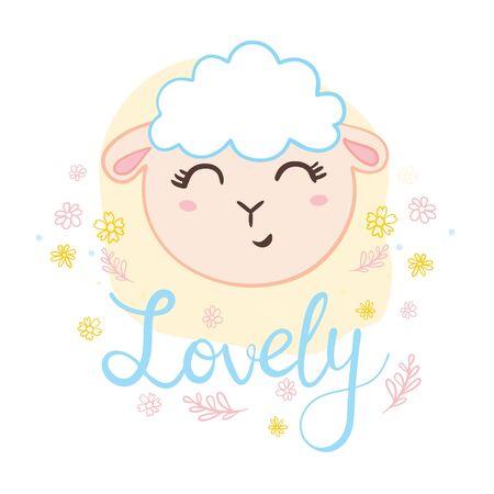 Cute sheep face. Flat icon. Vector illustration 일러스트