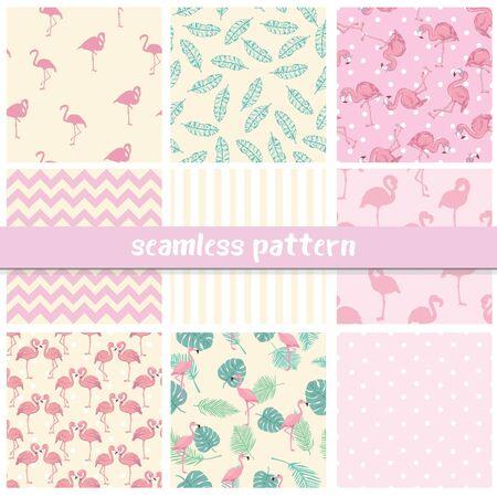 Set seamless backgrounds with pink flamingos 일러스트