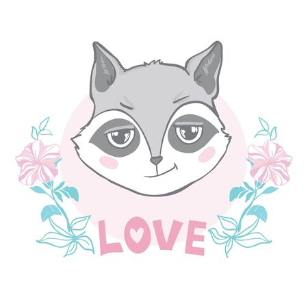 Vector illustration with cute raccoon. Banco de Imagens - 133866253