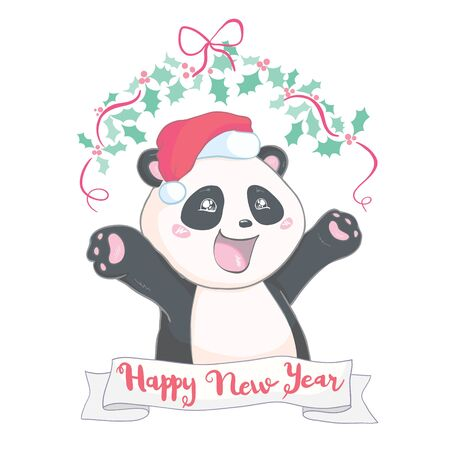 Cute Christmas cartoon panda bear character in Santas hat with pompon vector image isolated on white. Funny bearcat Merry Christmas