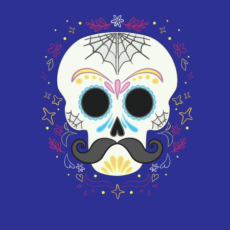 Vector illustration of an ornately decorated Day of the Dead (Dia de los Muertos) skull, or calavera. Ilustração