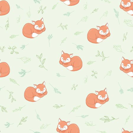 Cute Fox seamless pattern on white background, vector illustration Ilustração