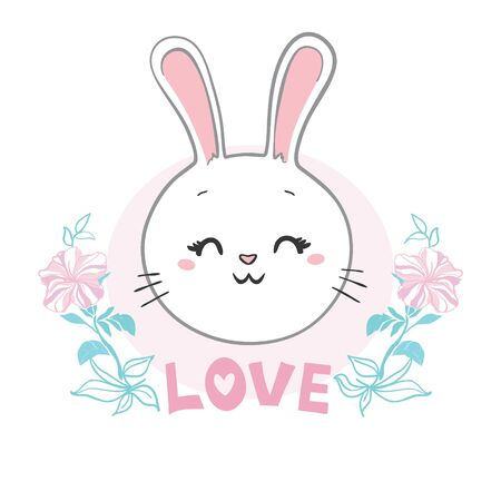 Bunny cute print. Hare fashion child vector. Cool and lovely rabbit illustration for nursery t-shirt, kids apparel, invitation, simple child design