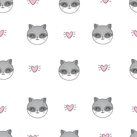 Vector seamless background with cute and beautiful raccoons. Cute background with cartoon character . Repeating texture with animals for children. Illustration on postcard, poster, texture, fabric. 일러스트