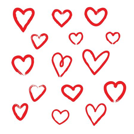 Set of unique hand drawn hearts. Set of vector hand icons. Illustration isolated on white background. Ilustração