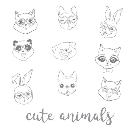 Set cute animals. Vector illustration. Dog, rabbit, Panda, cat, Fox, raccoon.