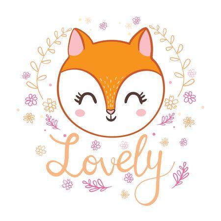 Cute cartoon fox illustration, vector. 일러스트