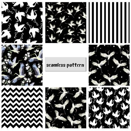Set of seamless patterns with Japanese cranes for Your design Ilustração