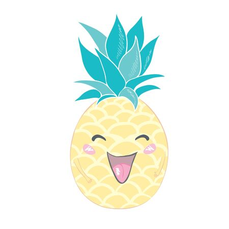 Cute vector background with a pineapple . Hand drawing summer card.