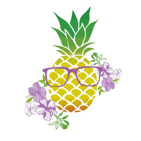 Cute vector background with a pineapple . Hand drawing summer card. 스톡 콘텐츠 - 133866296