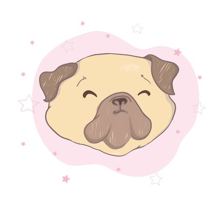Adorable beige puppy Pug . Vector illustration. Banco de Imagens - 133866297