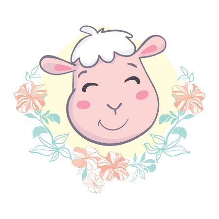 Cute sheep face. Flat icon. Vector illustration Ilustração