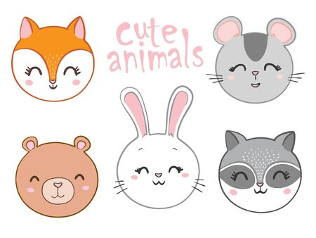 Vector illustration of animal faces. Stock Illustratie