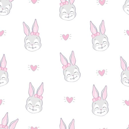 Cute rabbit face. Seamless pattern