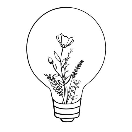 Vector light bulb icon with concept of idea. Doodle hand drawn sign. Illustration for print, web Ilustração