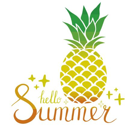 pineapple icon with the words Hello summer, flat design Ilustração