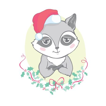 Cute raccoon in red hat for Merry Christmas and happy new year . Ilustração