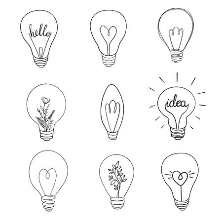 Set of vector light bulb icons. Illustration isolated on white background. Ilustração