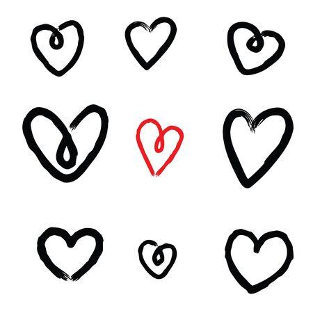 Conjunto de bocetos de corazón aislado sobre fondo blanco. Ilustración de vector.