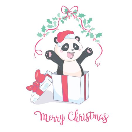 Cute Christmas cartoon panda bear character in Santa's hat with pompon vector image isolated on white. Funny bearcat Merry Christmas Banco de Imagens - 133866305