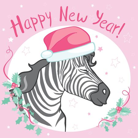 Graphical zebra in Santa Claus hat isolated on white background,vector new year illustration Stock Illustratie