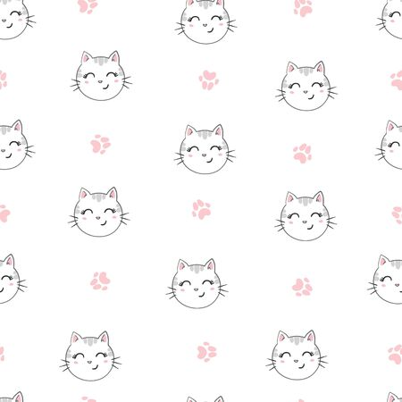 Cute cat seamless pattern illustration 스톡 콘텐츠 - 133866313