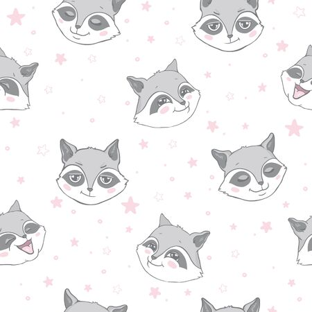 Vector seamless background with cute and beautiful raccoons. Cute background with cartoon character . Repeating texture with animals for children. Illustration on postcard, poster, texture, fabric. Ilustração