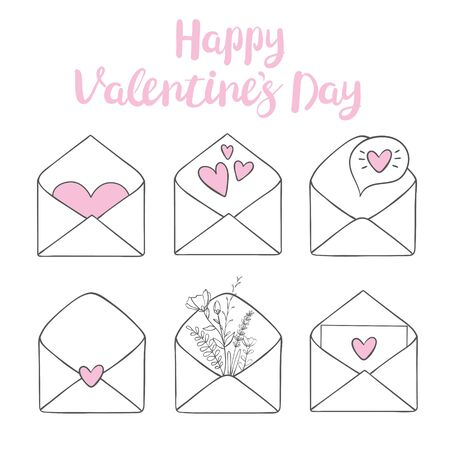 Valentines day clip art. Envelope with hearts, stamps and hearts, love postcard with letters. Flying heart with wings. Vector illustration Ilustração