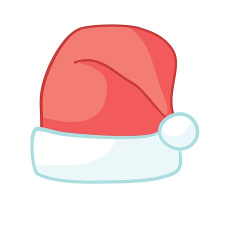 Santa red hats with white fur . Isolated Christmas holiday vector decoration illustration Ilustração
