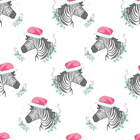 Pattern zebra in Santa Claus hat ,vector new year illustration
