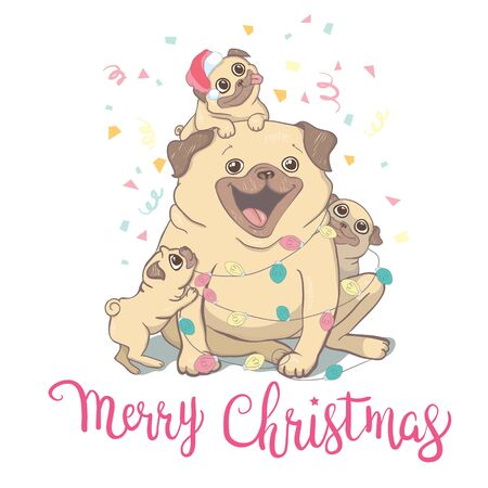 Puppy Pug in a Santas hat and with Christmas toy ball. Vector illustration. Ilustração