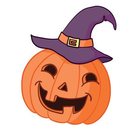 Cartoon halloween pumpkin wearing witch hat isolated Ilustração