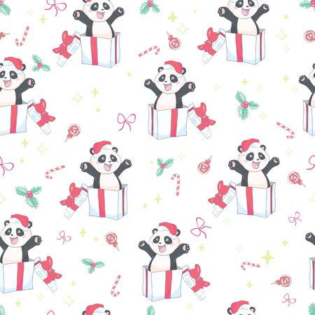 Seamless pattern with the illustration of a cute Panda in a cartoon style. Children vector background. Ilustração