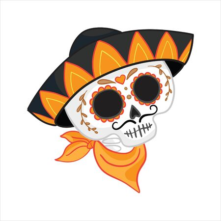 Vector hand drawn illustration of Mexican holiday Day of the Dead.