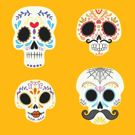 Day of the dead vector illustration set. Dia de los Muertos, skull, or calavera.