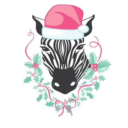 Graphical zebra in Santa Claus hat isolated on white background,vector new year illustration Ilustração