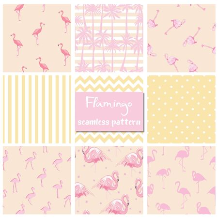 Set seamless backgrounds with pink flamingos Ilustração