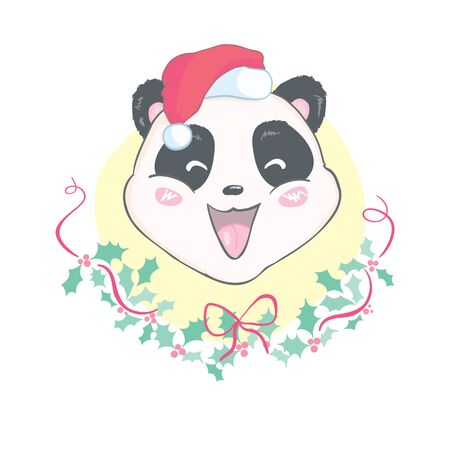 Cute Christmas cartoon panda bear character in Santa's hat with pompon vector image isolated on white. Funny bearcat Merry Christmas Banco de Imagens - 133866434